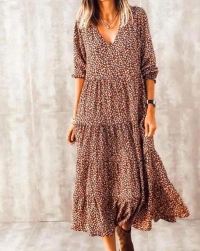 Bohemian Print Long Sleeve A-Line Flowy Layer Maxi Dress