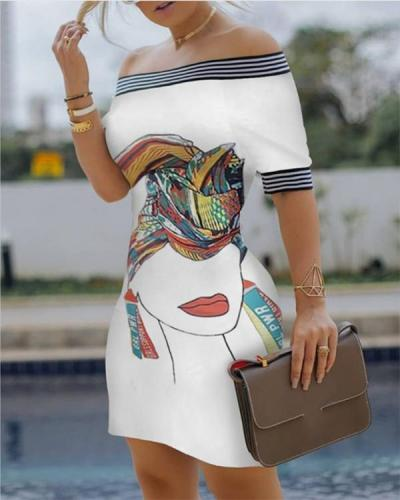 Figure Print Striped Tape Bodycon Dress