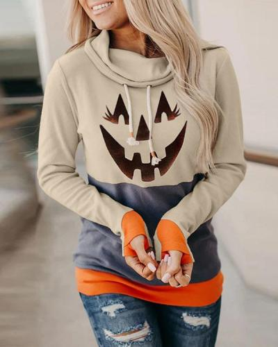 Halloween Pumpkin Colorblock Long Sleeve Hooded Top