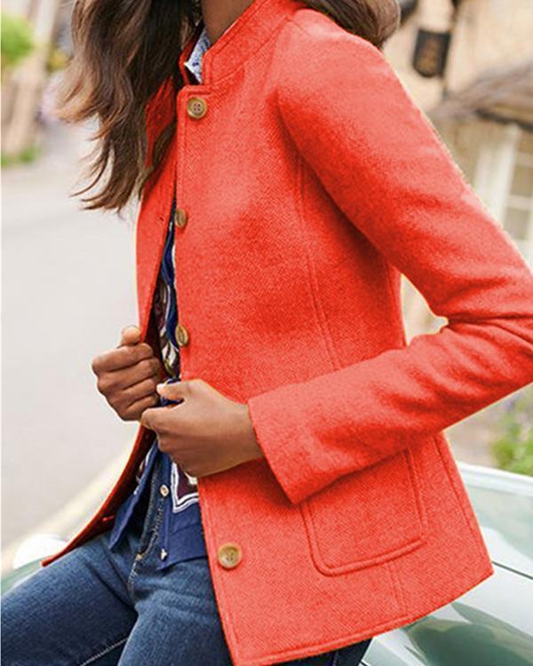 Women's Straight Long Sleeve Pockets Retro Blazer