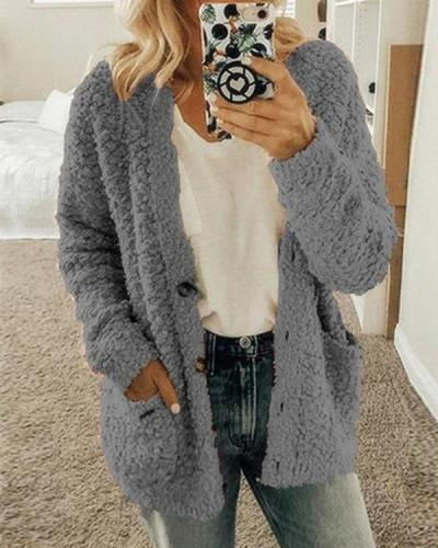 Women Plus Size Daily Solid Color Outerwear