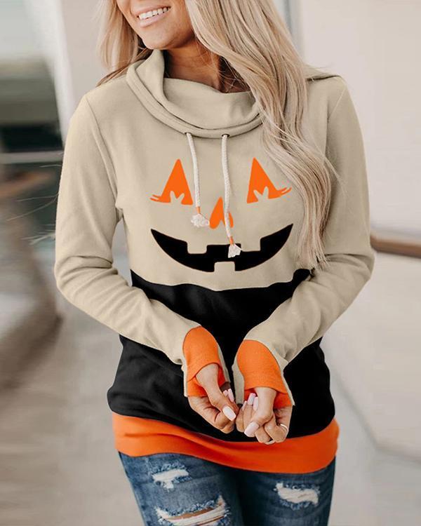 Halloween Pumpkin Colorblock Long Sleeve Hooded Top