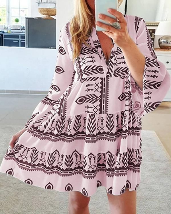 Bohemian Print Flare Sleeves Casual/Vacation Dresses