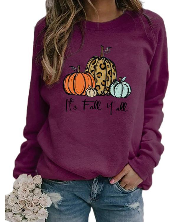 Halloween Print Pumpkin Cotton Sweatshirt
