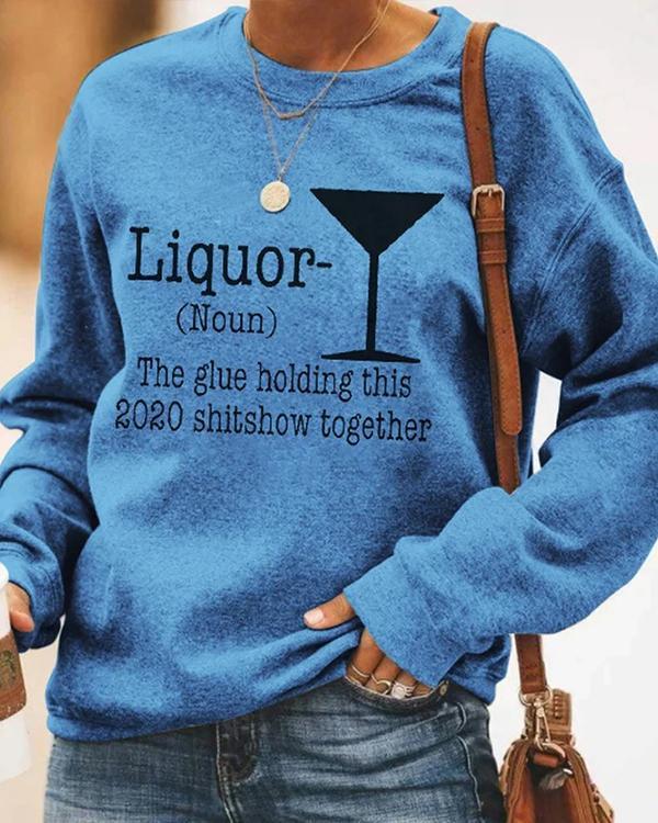 Long Sleeve Printed Letter Vintage Sweatshirt