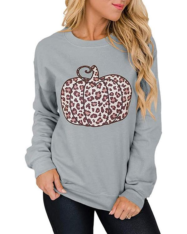 Leopard Print Pumpkin Graphic Sweatshirt