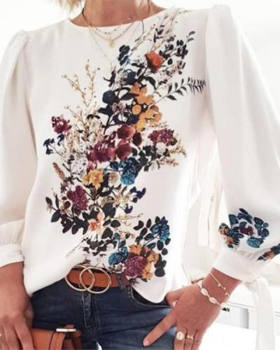 Fashion Floral Printed Round Collar Long sleeve Blouses