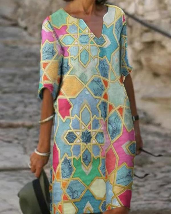 Women's Shift Dress Knee Length Print Dress