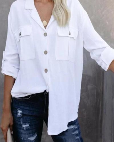 Casual Solid Buttons Down Lapel Collar Side Pockets Blouse