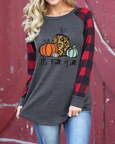 Red Plaid Halloween Pumpkin Pattern Long Sleeve T-shirt