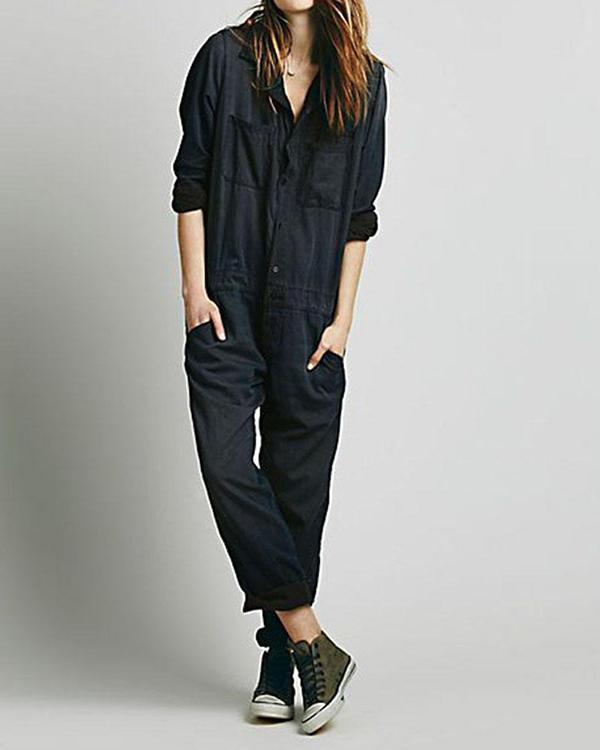 Women Casual Solid Color Pocket Jumpsuit