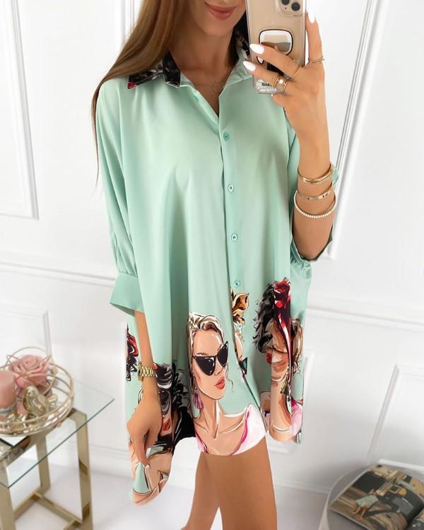 Figure Print Button Design Half Sleeve Shirt