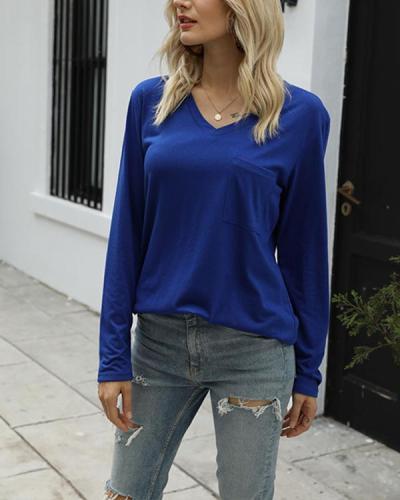 Women's T Shirts Long Sleeve V Neck Loose Casual Basic Tee