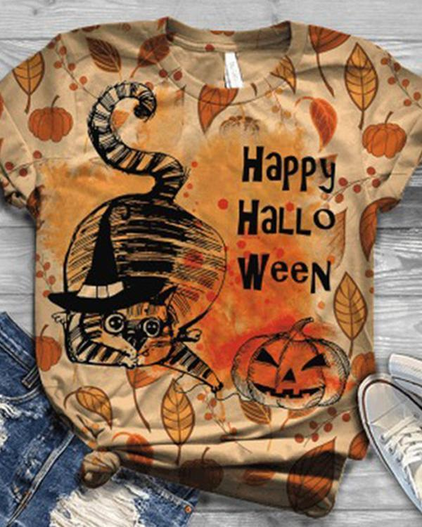 Women 5 Pattern Type Halloween Cat&Pumpkin Short Sleeve T-Shirts