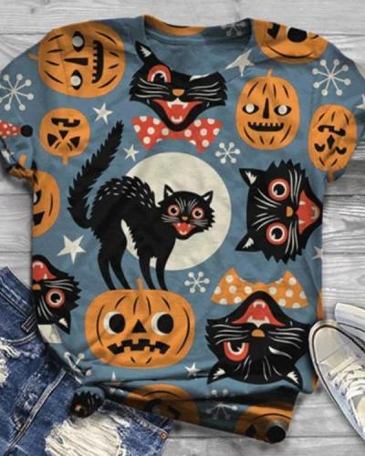 Women 5 Pattern Type Halloween Cat&Pumpkin Short Sleeve T-Shirts