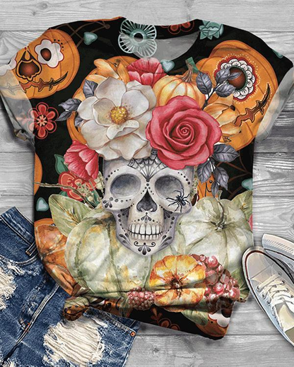 Women Plus Size Halloween Skull Flower Print Short Sleeve T-Shirts