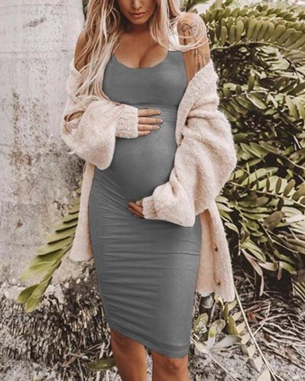 Maternity Casual Sundress Bodycon White Sleeveless