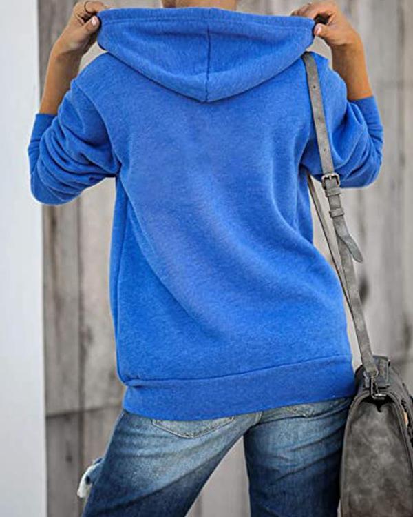 Women Hooded Zipper Casual Outerwear