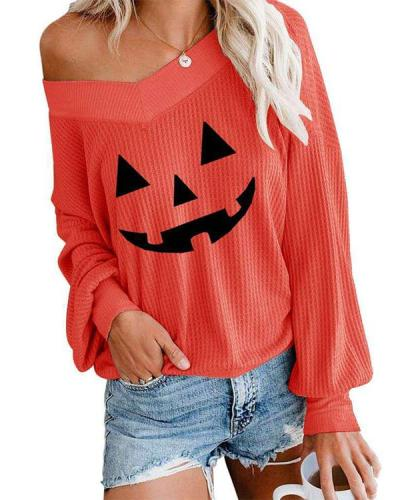 Womens V Neck Waffle Knit Halloween Tops Oversize Off Shoulder Pullover Sweatshirt