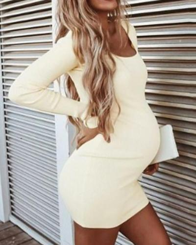 Maternity Sexy Solid Long Sleeve Dress