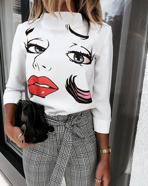 Casual Stand Collar Face Print Blouse Tops