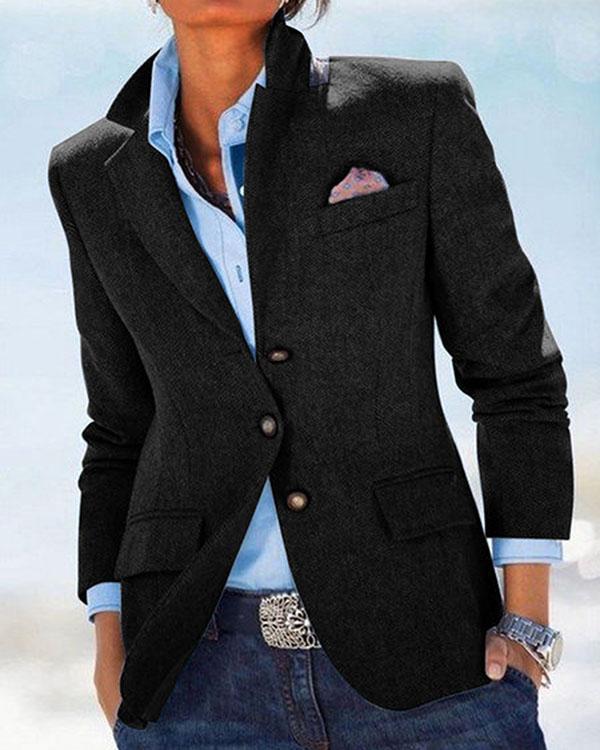 Solid Pockets Blazer Plus Size Lapel Jacket