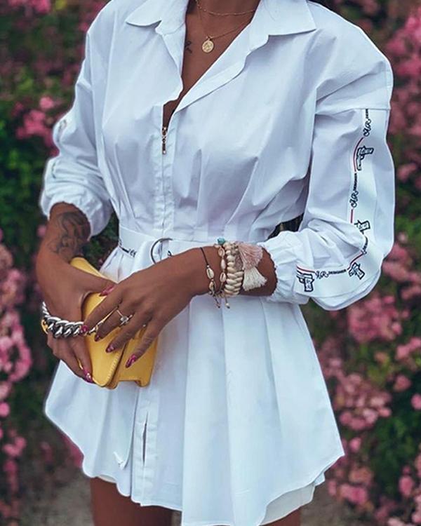 Irregular Long Sleeve Zipper Patchwork Tight Waist Belt Pleated Shirt Dress