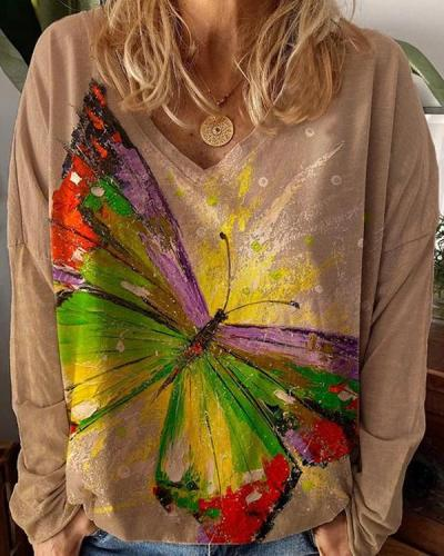 Women's Plus Size Casual Butterfly Flower Blouses Long Sleeve Tops
