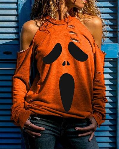 Multi Pattern Printed Long Sleeve Hollow out Shirts & Tops for Halloween