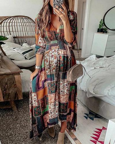 Maternity Fashion Casual V-neck Half Sleeve Maxi dress