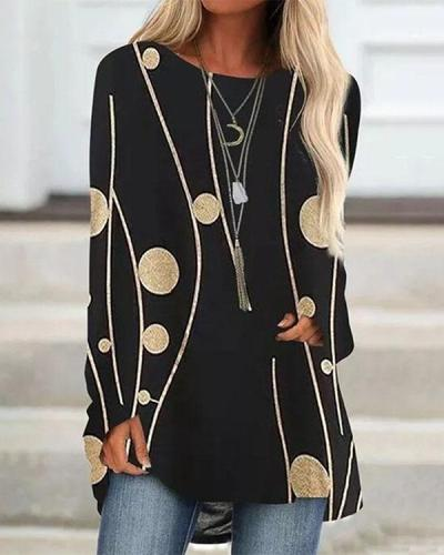 Plus Size Color Block Casual Round Neckline Long Sleeve Blouses