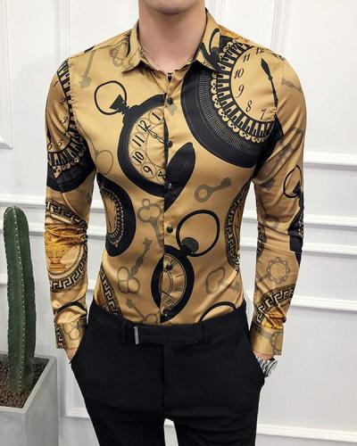 Men's Abstract Printed Long Sleeve Shirt