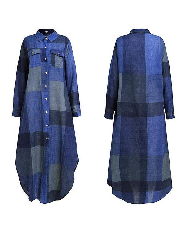 Plaid Print Button Pockets Shirt Dress