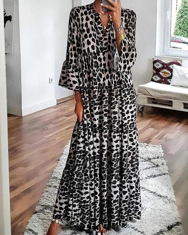 Fashion Leopard Print Dress Flare Sleeve Ruffled Hem Maxi Dress