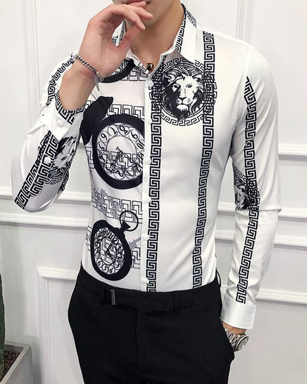 Men's Printed Long Sleeve Shirt