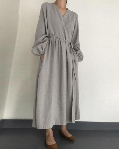 Women Plus Size V Neck Lantern Sleeve Drawstring Cotton Linen Dress