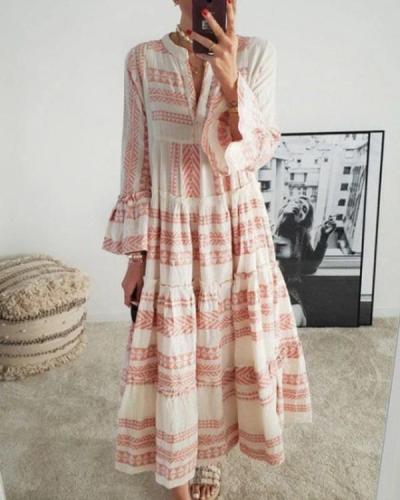 Vintage Boho Print Dress Flare Sleeve Ruffled Hem Maxi Dress