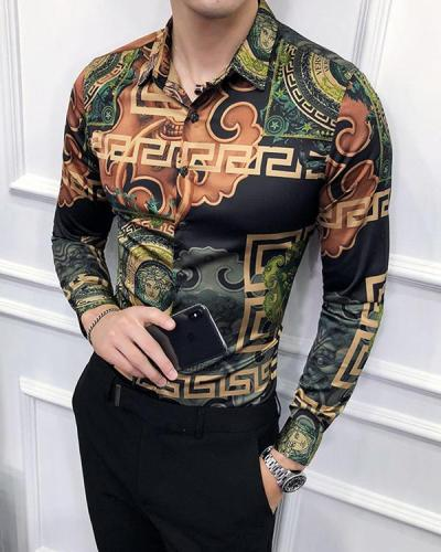 Men's Floral Printed Long Sleeve Shirt