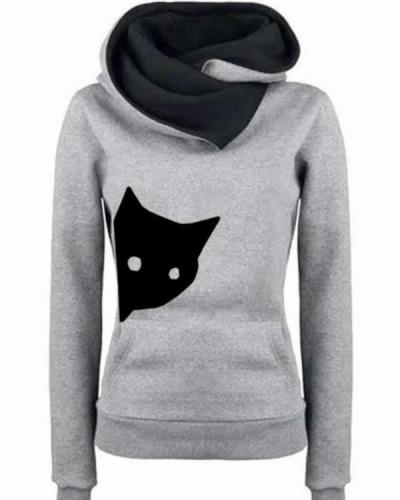 Women Long Sleeve Animal Cat Casual Plus Size Sweatshirts