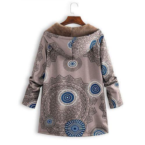 Women Winter Vintage Geometric Print Plush Coat Loose Hooded Coat