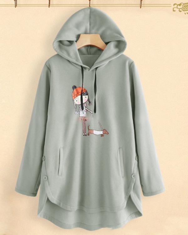 Printed Long Sleeve Women Loose Hooded Casual Daily Shift Tops