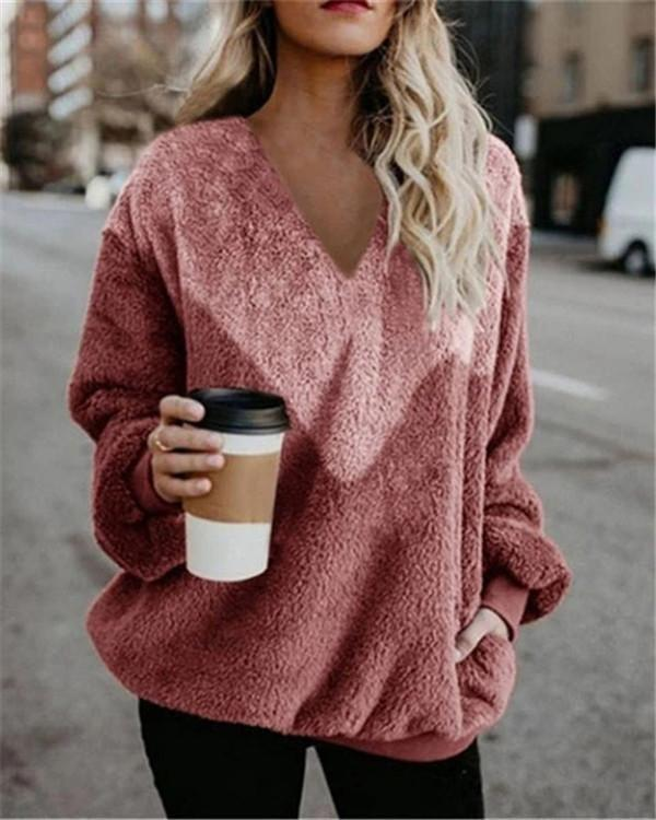 Women's Fall New Long Sleeve V Neck Daily Sweatshirt