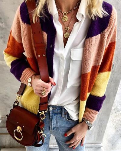 V-Neckline Color Block Short Shift Sweaters