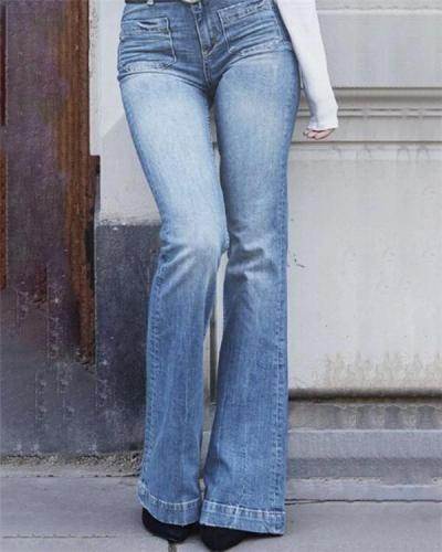 Women's  Vintage Mardarin Loose Fashion Denim Bottoms Jeans Pants