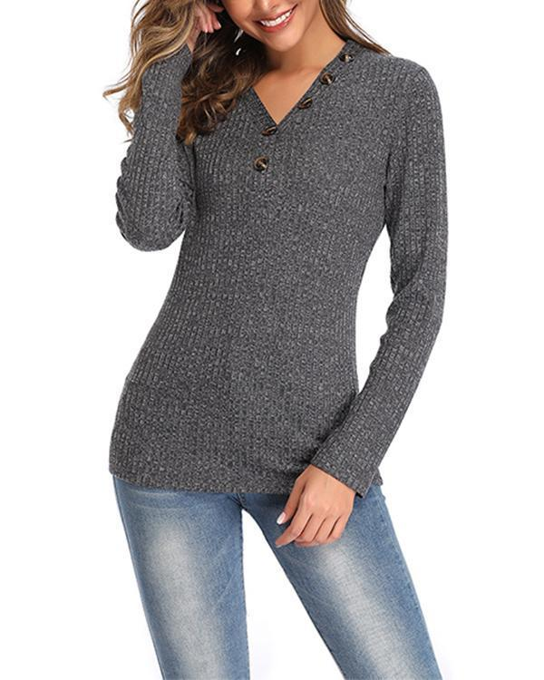 V-Neckline Solid Tight Regular Buttons Shift Sweaters