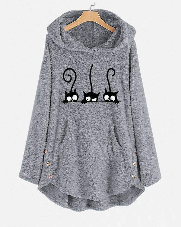Casual Three Cute Cats Print Long Sleeve Fleece Hoodies
