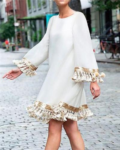 Bohemian Fringed Crew Neck Dress