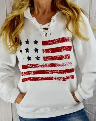 Women American Flag Lace Up Pocket Hoodie