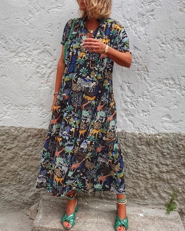 Vintage Animal Print Dress Short Sleeve Ruffled Hem Maxi Dress