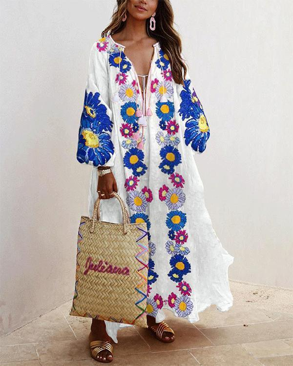 Plus Size Dress Balloon Sleeves Boho Printed Maxi Dresses